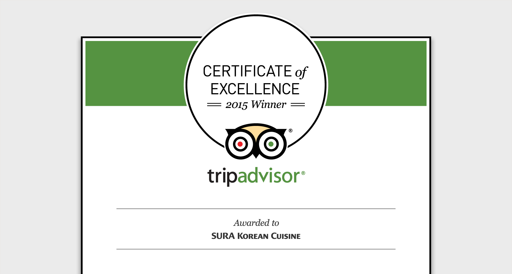 SURA has received the 2015 TripAdvisor® Certificate of Excellence